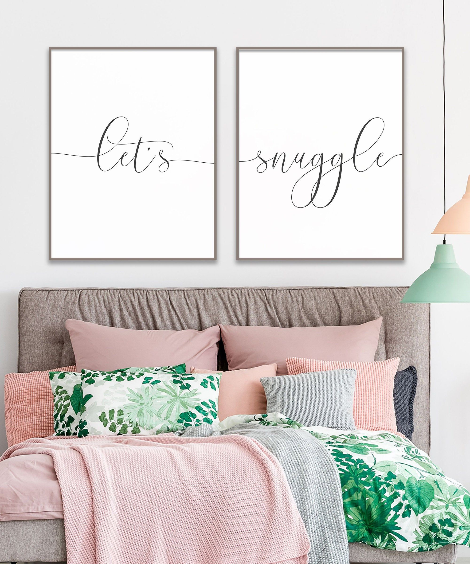 SNUGGLE UP Wall PrintBedroom Wall Art Home Decor Idea Ideas Quote Poster