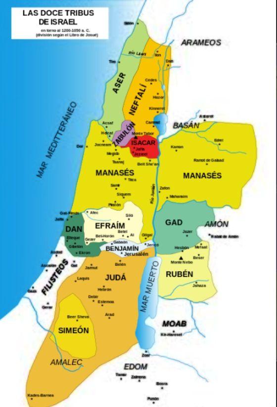 Mapa 12 tribús de Israel.