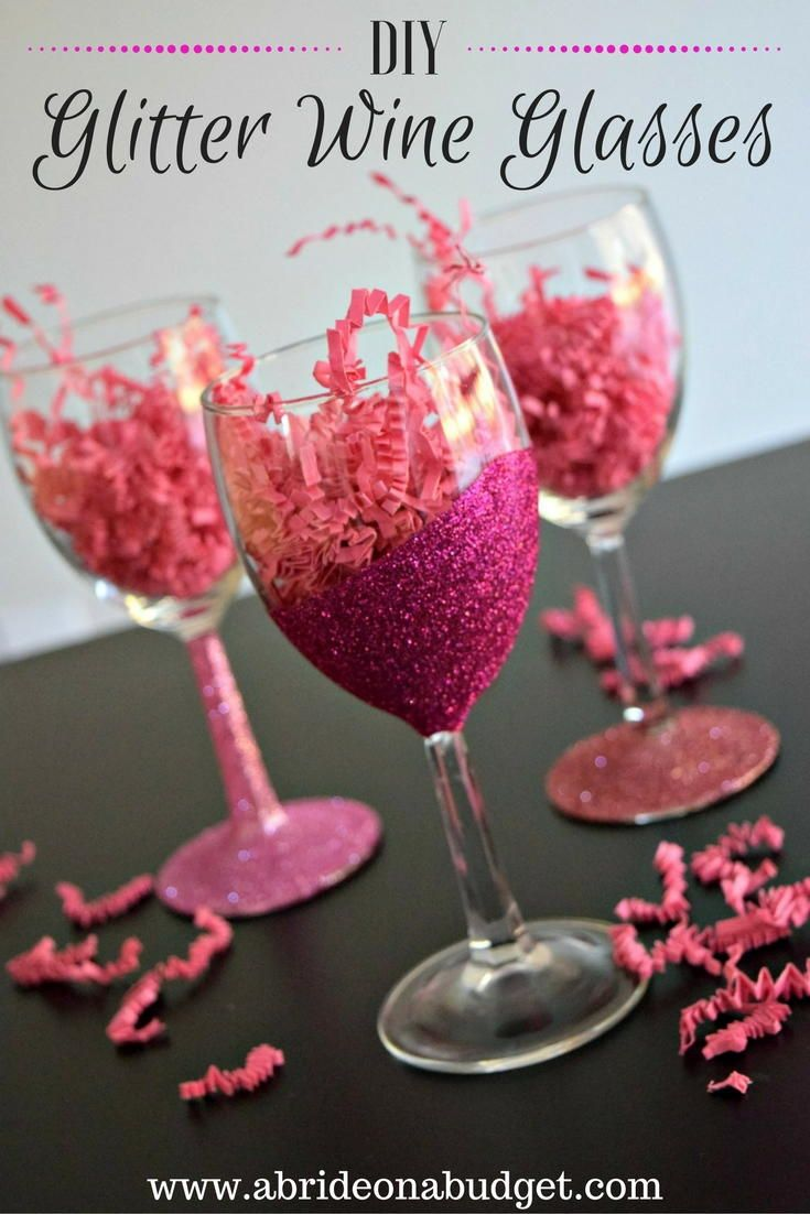 DIY Glitter Wine Glasses | Wine, Wedding morning and Party gifts