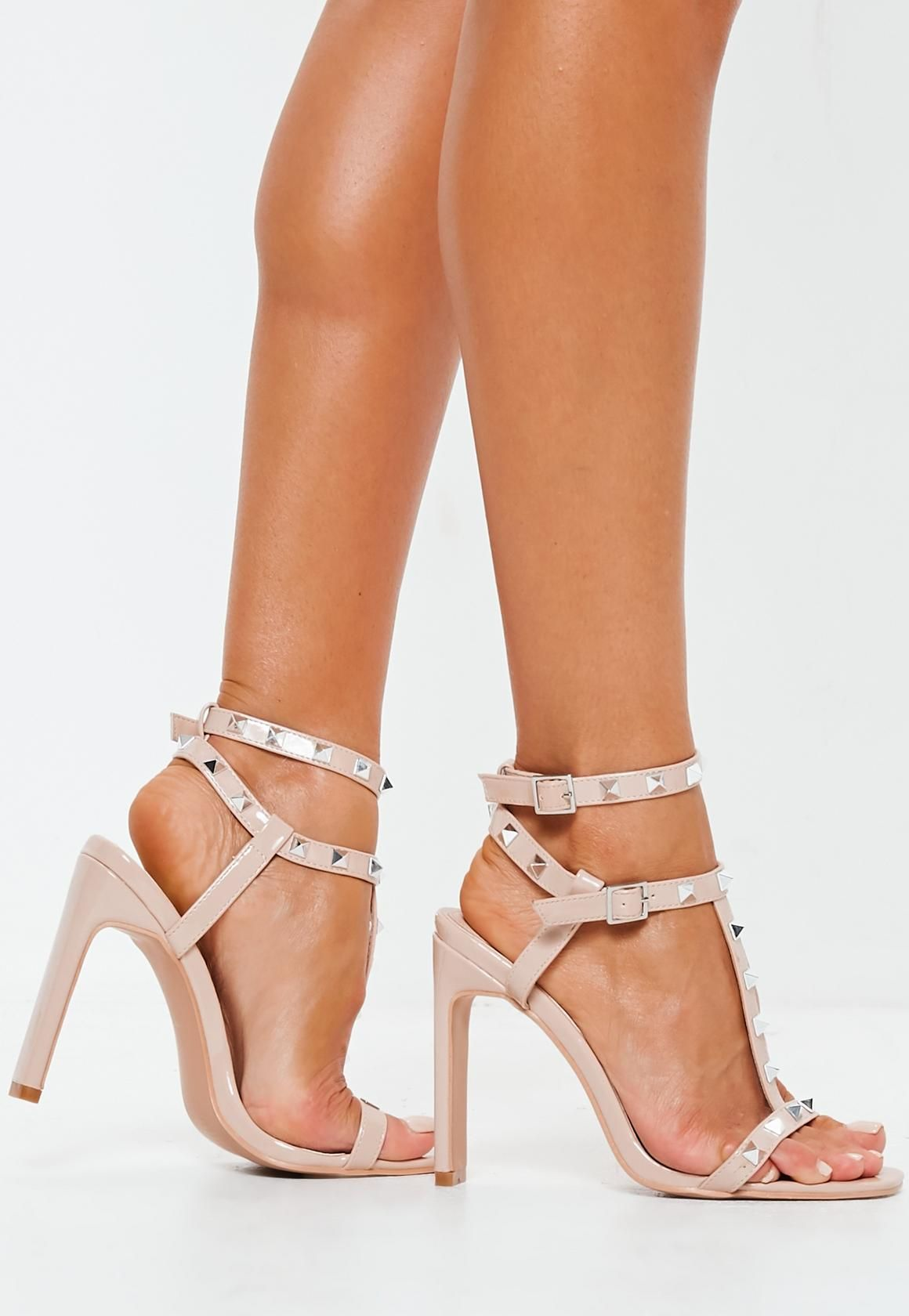 4e17adce6a8 Missguided - Nude Bar Studded Heel Sandals