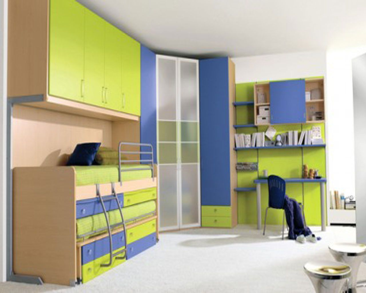 Boys Bedroom: Nice Lime Green And Blue Color Scheme For