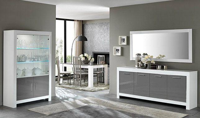 Salle manger compl te modena laqu e blanc et gris http for Sejour complet moderne