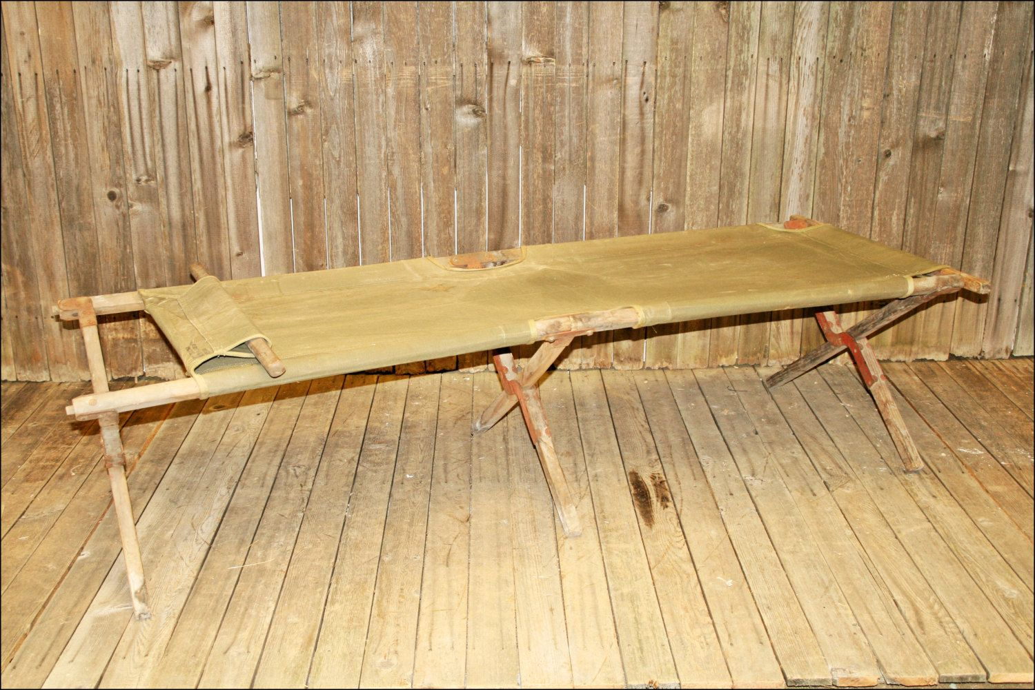 Vtg Military Cot Canvas Wood Folding Bed Portable