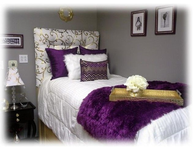 purple white and gold dorm room