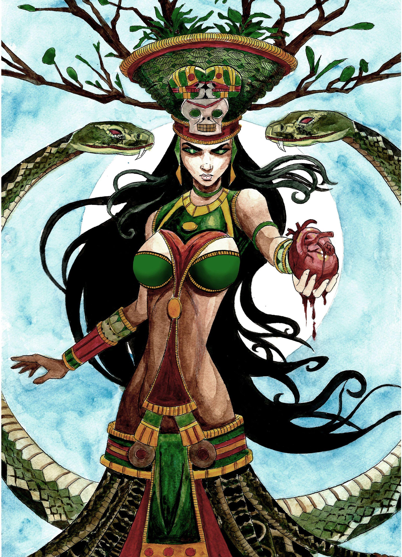 Matted Photo Art Print From My Original Watercolor Of Aztec Etsy In 2020 Aztec Warrior Aztec Art Princess Art