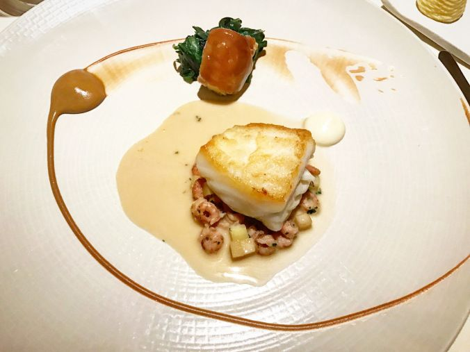 Pan Fried Fillet Of Turbot With Confit Chicken Wing Glazed Shrimps And A Lightly Creamed Chicken And Rosemary Jus This Was Fine Dining Food Pictures Dining