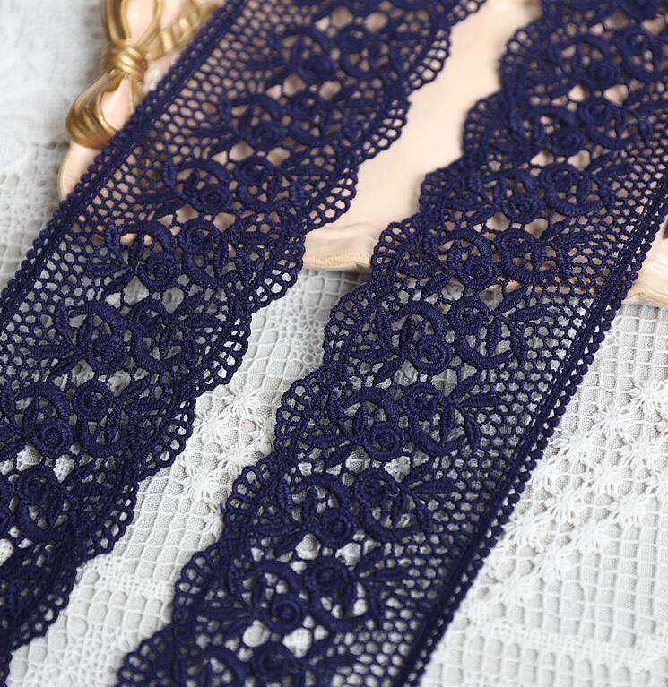 US $3.42 10% OFF 2 meter Navy Blau Farbe Spitze Trim 100% Baumwolle Stickerei Spitze Applique Borte DIY Spitze Stoff Kleidung Zubehör Spitze  - AliExpress