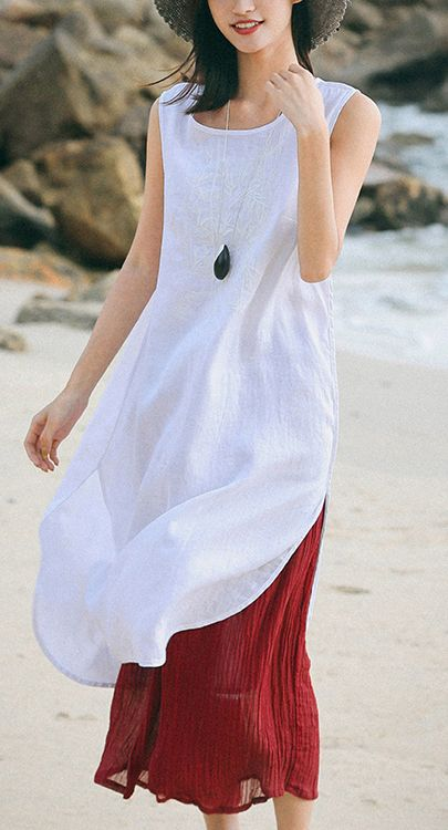 4497e30b10 Bohemian white linen dresses Pakistani Runway o neck Sleeveless cotton Summer  Dresses oneckdress whitedress