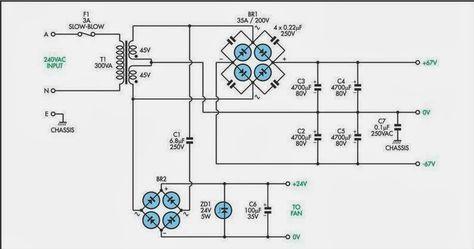 200w subwoofer amplifier circuit amplifiercircuits com 300w rh pinterest ca Powered Subwoofer Schematic Diagram Powered Subwoofer Schematics