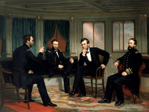 The Peacemakers by George P.A. Healy. The title is the only clue to the import of this solemn painting, a prelude to the end of the Civil War.  Maj. Gen. William T. Sherman, Lt. Gen. Ulysses S. Grant, President Abraham Lincoln, and Rear Adm. David D. Porter met to discuss the nature of the peace terms to follow.