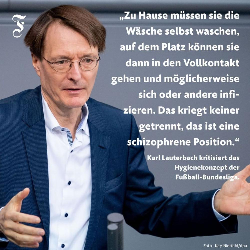 Faz Karl Lauterbach Kritisiert Mit Deutlichen Worten Das Hygienekonzept Der Fussball Bundesliga Dabei Aussert Sich Der Gesundheitsex In 2020 Blue Fashion Lifestyle Blue