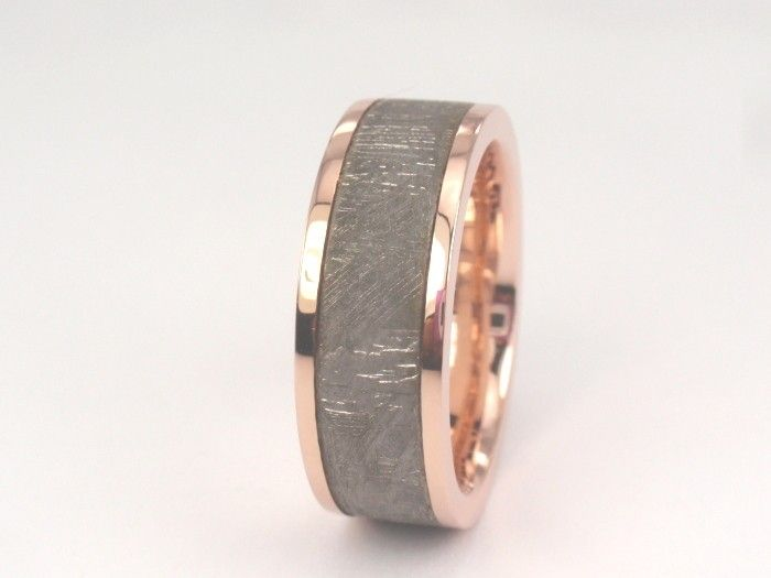Holiday Sale Off Rose Gold Meteorite Ring Wedding Band Set For Men And Women