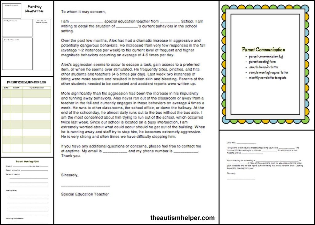 Special Education Must-Have Forms and Templates Autism classroom - meeting form template