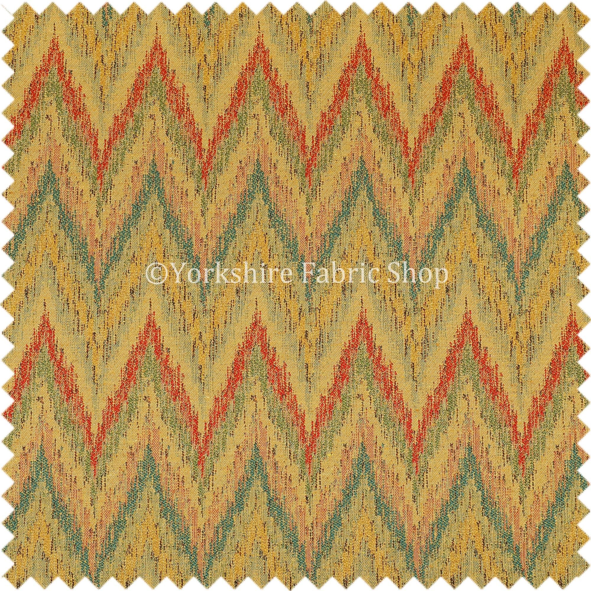 Chevron Striped Chenille Red Green Orange Yellow Upholstery