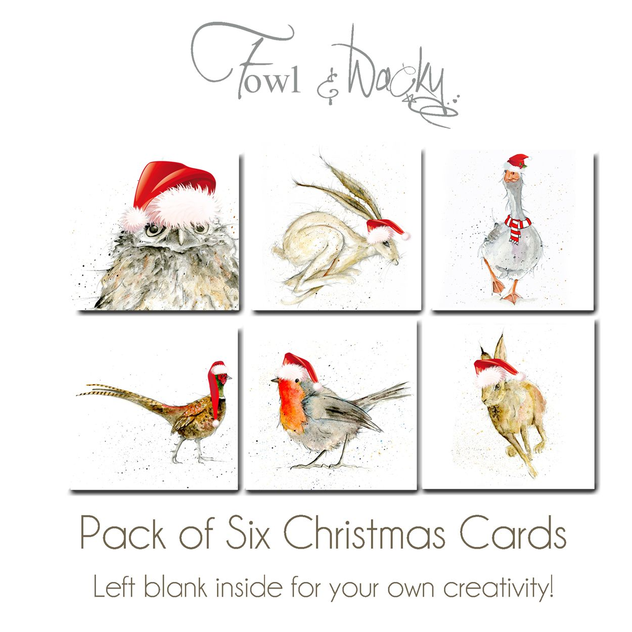 Six Animal Christmas Cards Featuring Owl, Hare, Goose