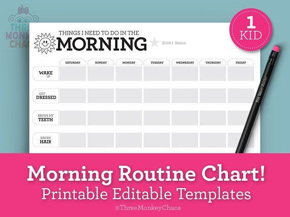 Morning routine chart for kid editable pdf bedtime also printables three rh pinterest