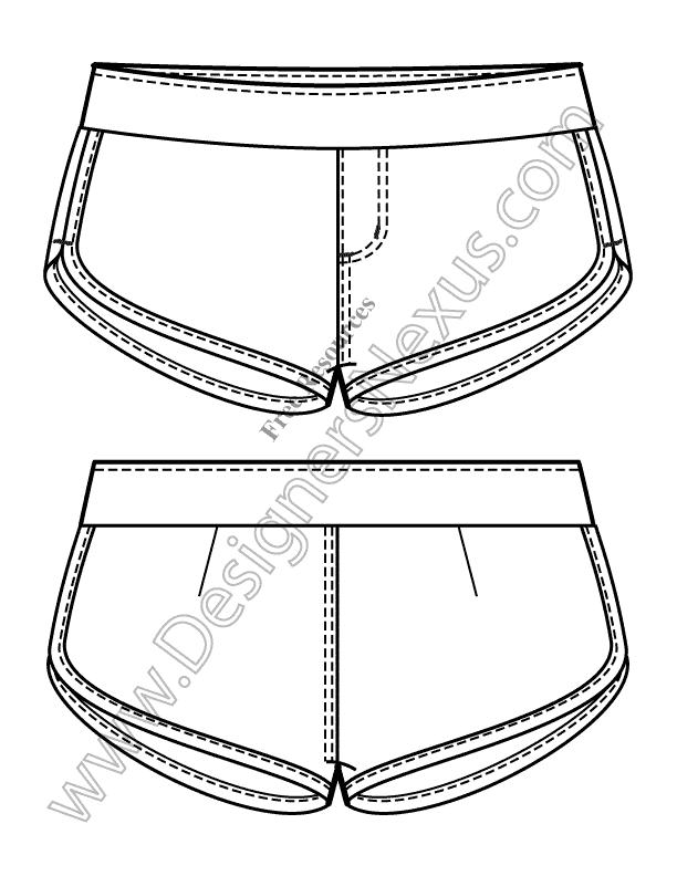 v4 knit flats track shorts free illustrator fashion technical drawing template fashion flats. Black Bedroom Furniture Sets. Home Design Ideas