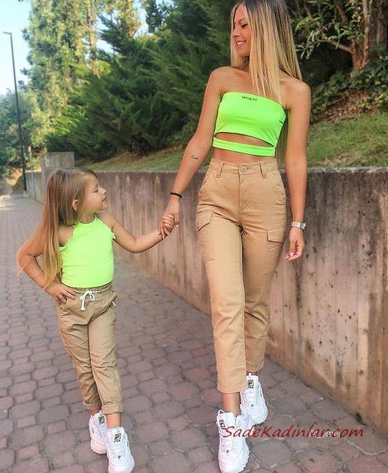 2020 Anne Kız Elbise ve Kıyafet Kombinleri Kahverengi Pantolon Neon Yeşili Büstiyer | SadeKadınlar, Kıyafet Kombinleri #moda #fashion #fashionblogger #damenmode #mode #damenoutfits #outfits #kombin #annekız #annekızelbiseleri #annekızkıyafetleri #annebebekkombin #kombinleri #kombinönerileri #outfitsoftheday #girl #kıyafetkombinleri #şıkkombinler