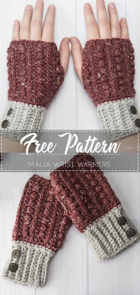 Malia Wrist Warmers – Free Pattern – Free Crochet #crochet
