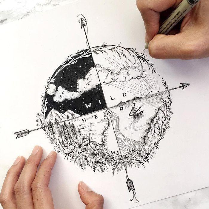 , ▷ 1001 + idées pour trouver le plus beau tatouage swag – Voyage tatouage dessin les saisons et les directions du monde, modele tatouage, être swag…, My Tattoo Blog 2020, My Tattoo Blog 2020