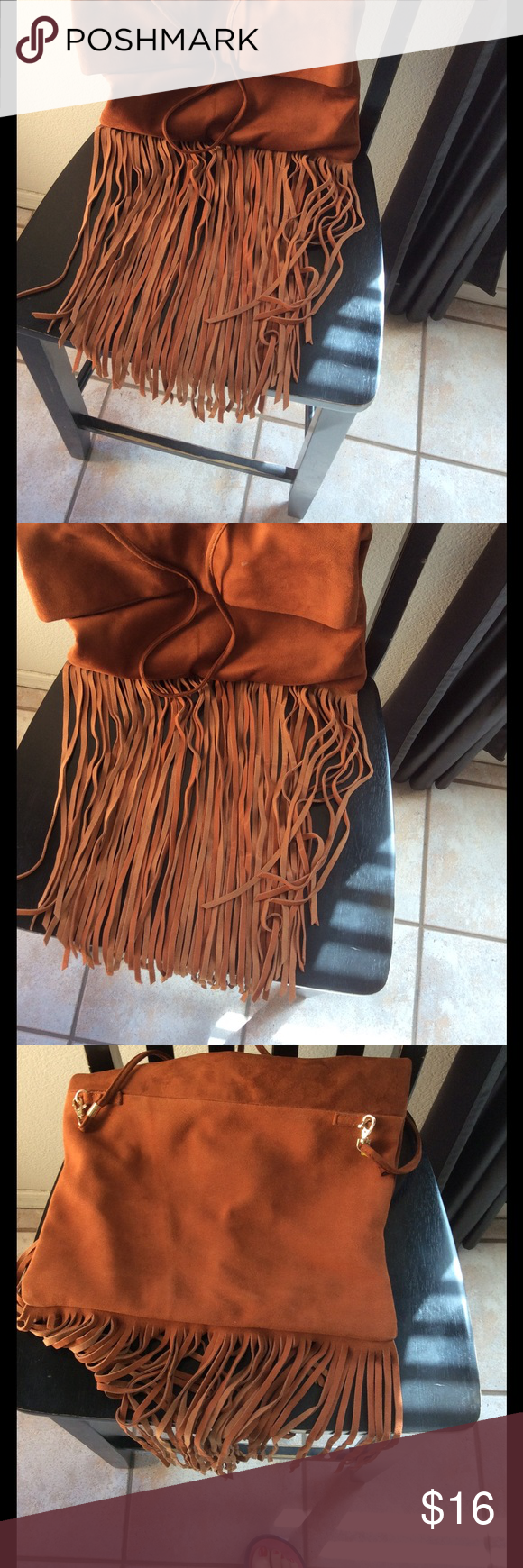 Sole Society vegan fringe crossbody fold over bag Sole Society vegan fringe crossbody fold over bag, faux leather/suede. Fully lined very good condition Sole Society Bags Crossbody Bags