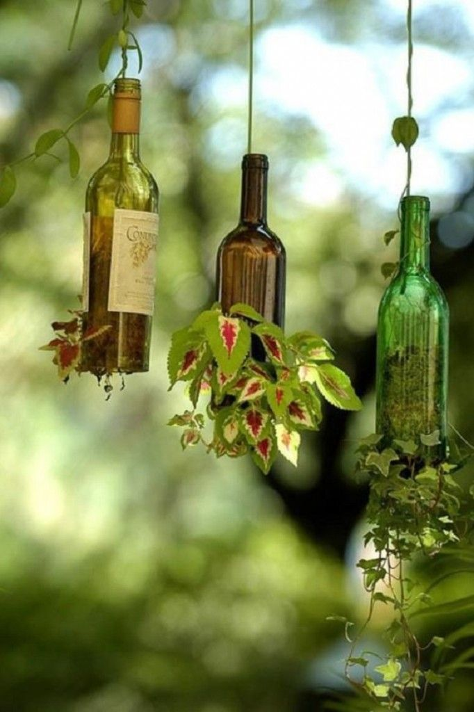 re-purposed glass bottles as porch charms.