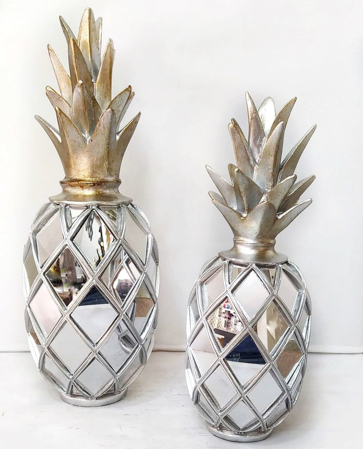 Silver Mirrored Pineapple Set Pineapple Object Pineapple Etsy Pineapple Decor Gold Pineapple Decor Pineapple Accessories