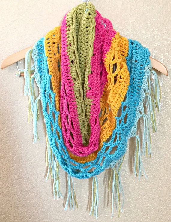 Crochet Scarf Spring Scarf Colorful Scarf Crochet | Knitted/ crochet ...
