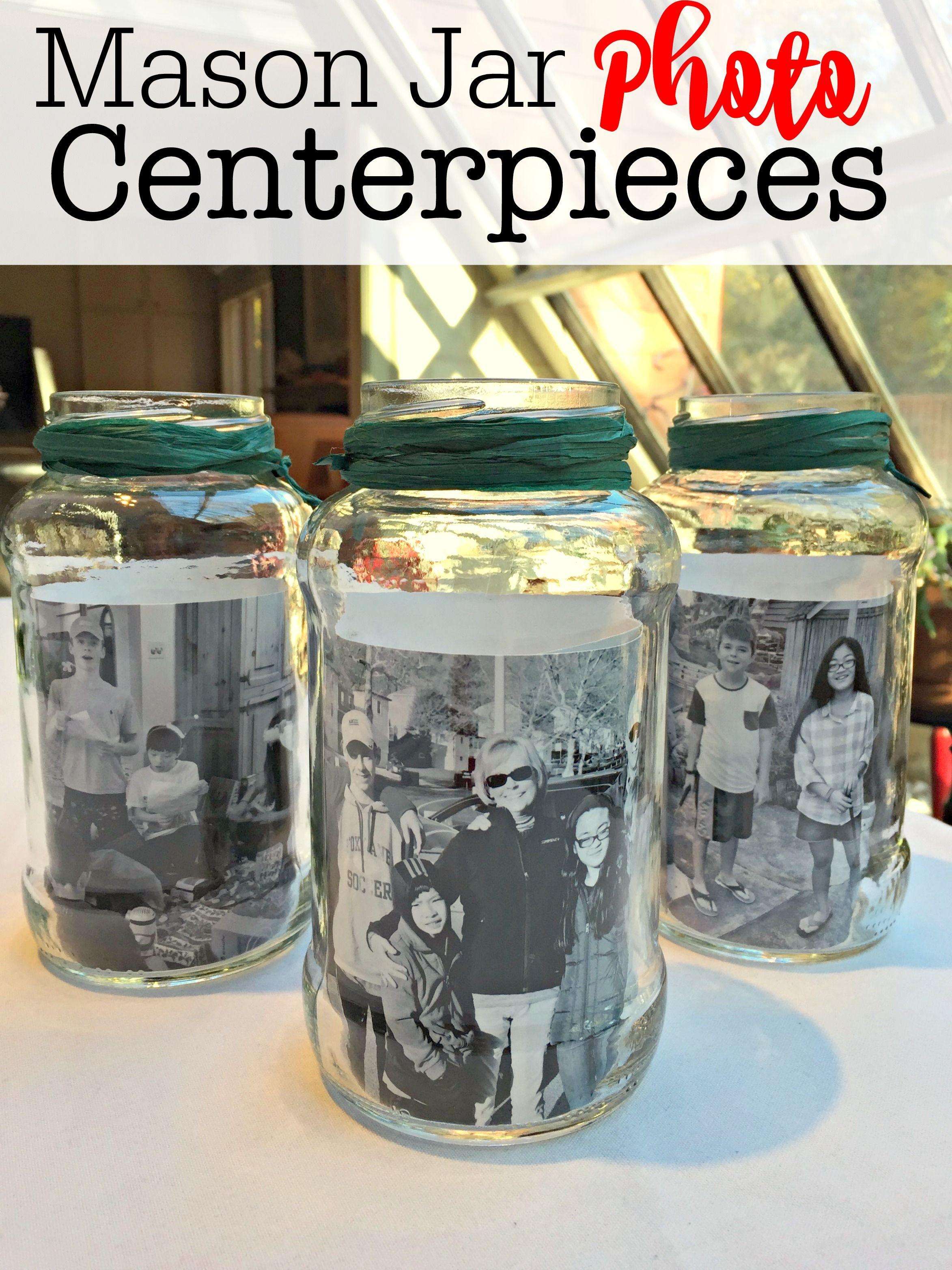 Mason Jar Photo Centerpieces Mason Jar Photo Mason Jar Diy Photo Centerpieces