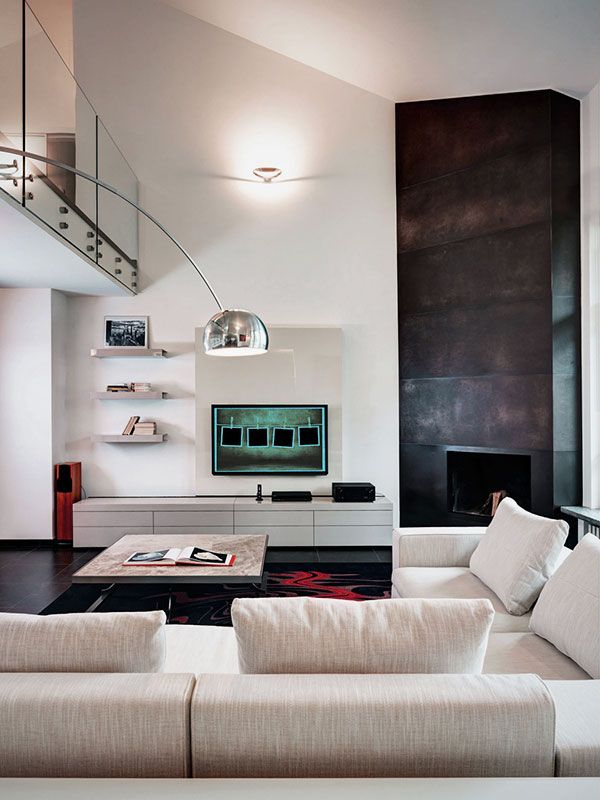 Modern Living Room Design Ideas With Corner Fireplace And TV Wall Units