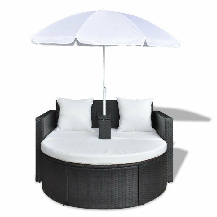 canapé rond de 2 places avec parasol Canapé