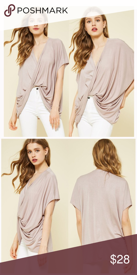 ✨NEW✨Taupe Twist-Tie Front Top Gorgeous Taupe twist-tie front top. Ultimate sophistication. Available sizes: S and L 96% Rayon, 4% Spandex. Bundle and Save 💛🖤👑 Aluna Levi Tops