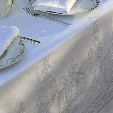 Garnier Thiebaut Beauregard White Damask Table Linens Table