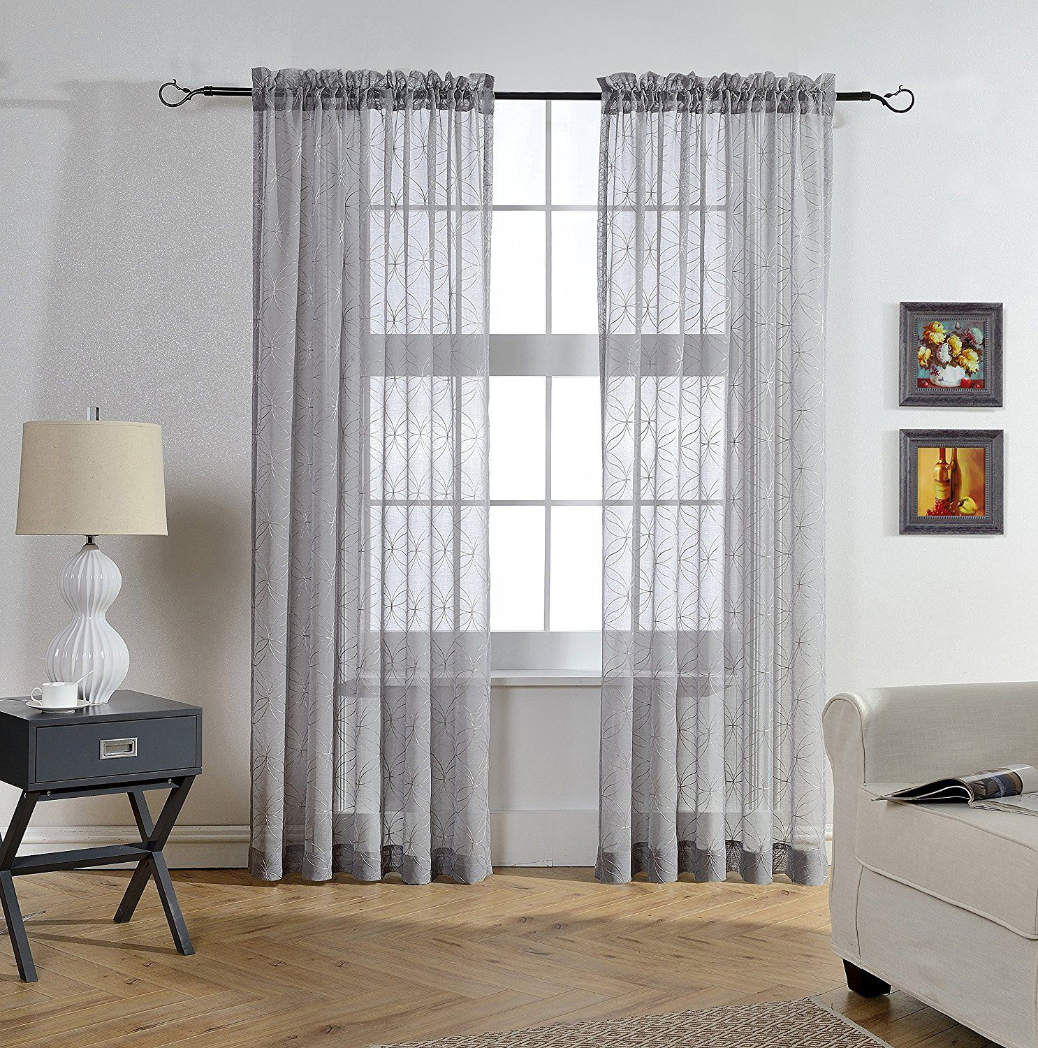 Mysky home rod pocket window embroidery voile embroidered sheer