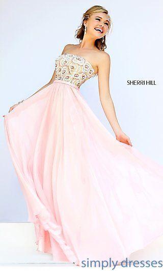 Strapless Long Beaded Sherri Hill Prom Gown