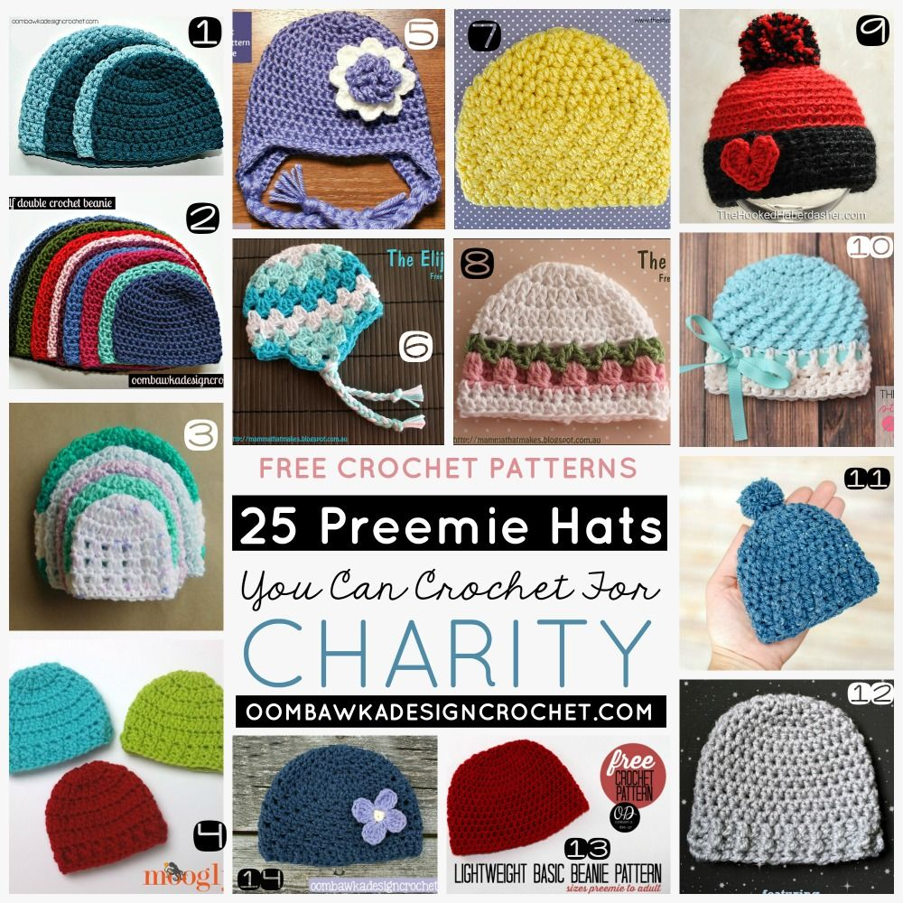 25 Preemie Hats You Can Crochet for Charity! | Pinterest | Stricken ...