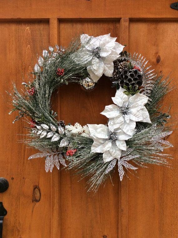 Peace Christmas Wreath, Door Decor, Artificial Silk Flower Wreath, Winter, Front  Door