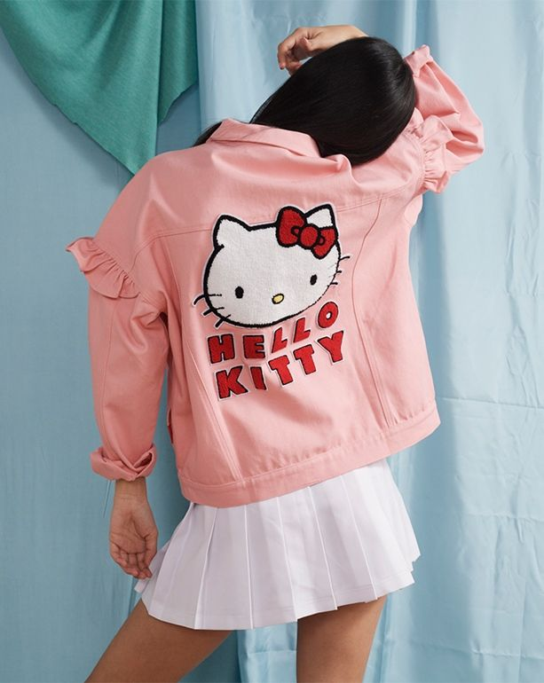 88261ff5b Hello Kitty x Lazy Oaf Frilly Denim Jacket - Everything - Categories -  Womens