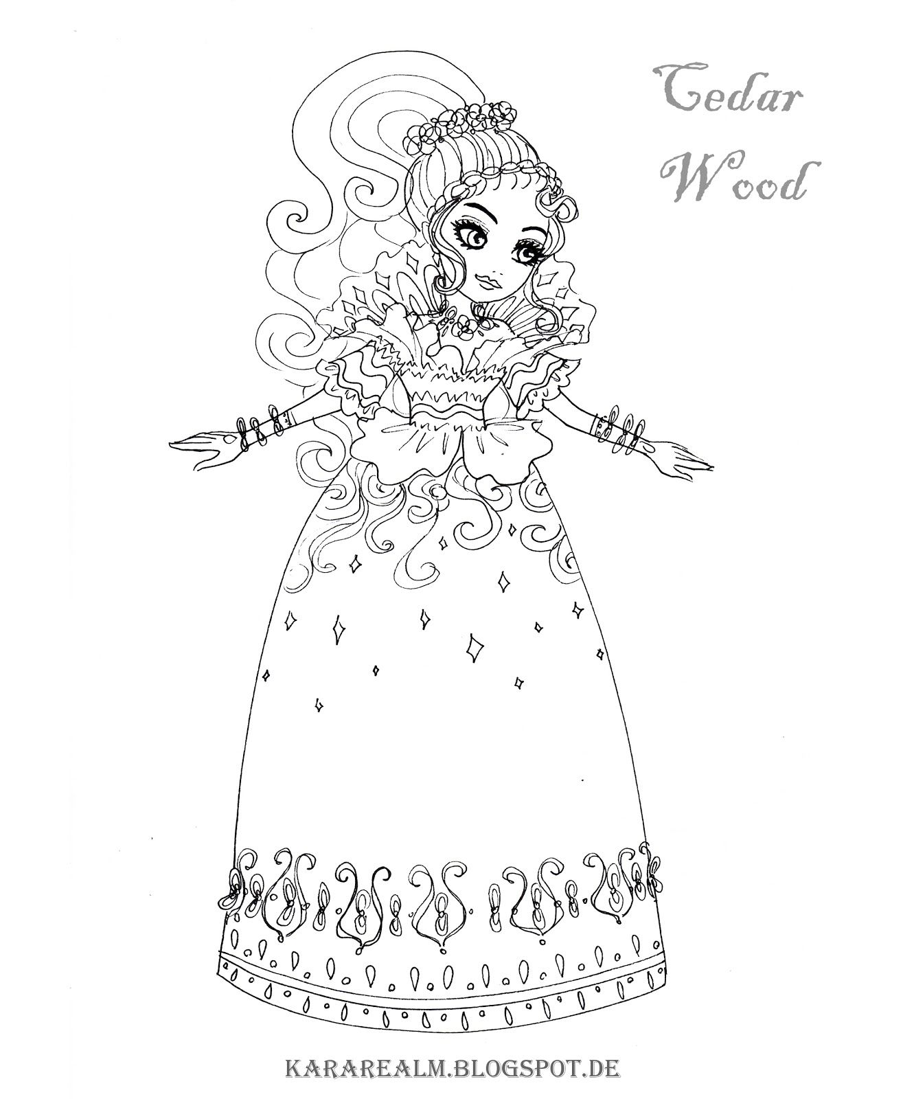 Lizzie hearts coloring page - Kara Realm Ever After High Coloring Pages