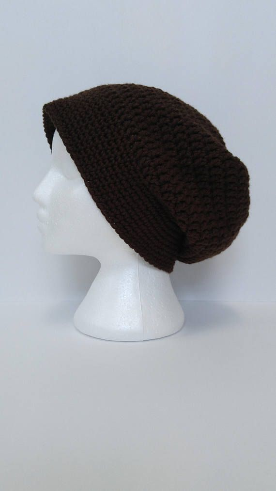 Men\'s Slouchy Beanie | Handmade Crochet | brown hat | men\'s slouchy ...