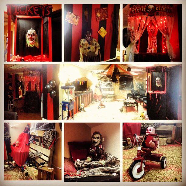 Office Halloween decor Scary CarnEvil theme Halloween ideas - circus halloween decorations