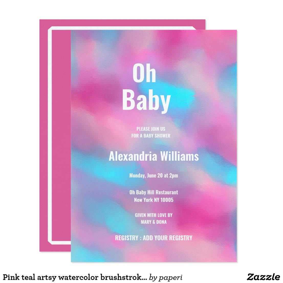 Pink teal artsy watercolor brushstrokes Oh Baby Invitation