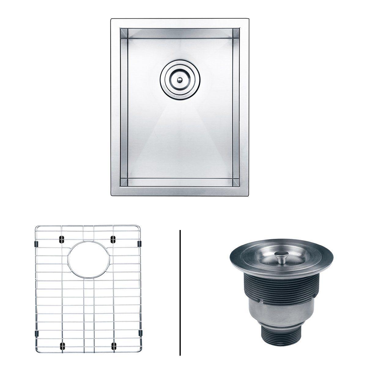 "ruvati rvh7110 undermount 16 gauge 14"" bar single bowl sink"
