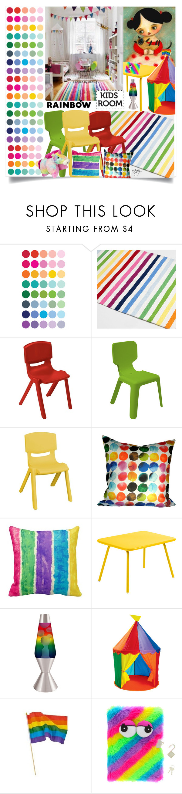 """Rainbow Kids Room"" by nans-g on Polyvore featuring interior, interiors, interior design, home, home decor, interior decorating, Zara Home, Me Too, Fermob and Universal Lighting and Decor"