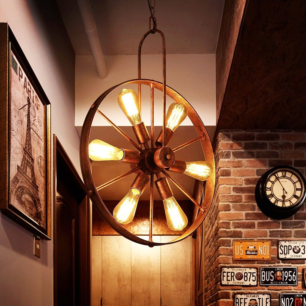 Wagon Wheel Rustic Chandelier Western Decor Pendant Light: Warehouse Of Tiffany Saralin 6-Light Rustic Wagon Wheel