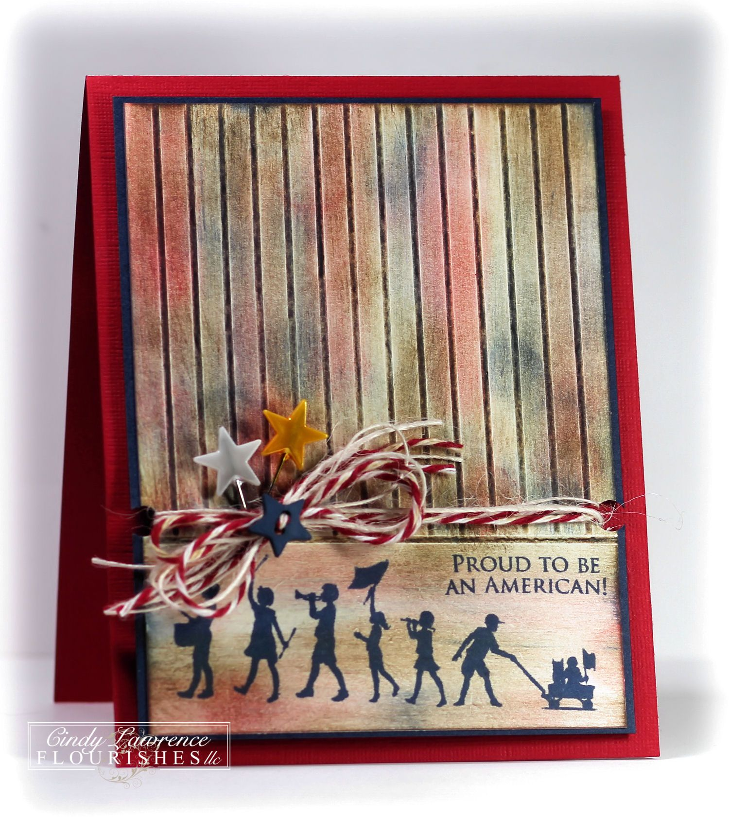 proud to be an american  cards handmade silhouette cards