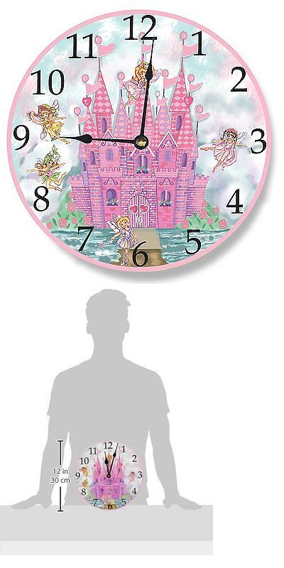 other nursery wall d cor 20430 pink castle wall clock fairies the kids room stupell