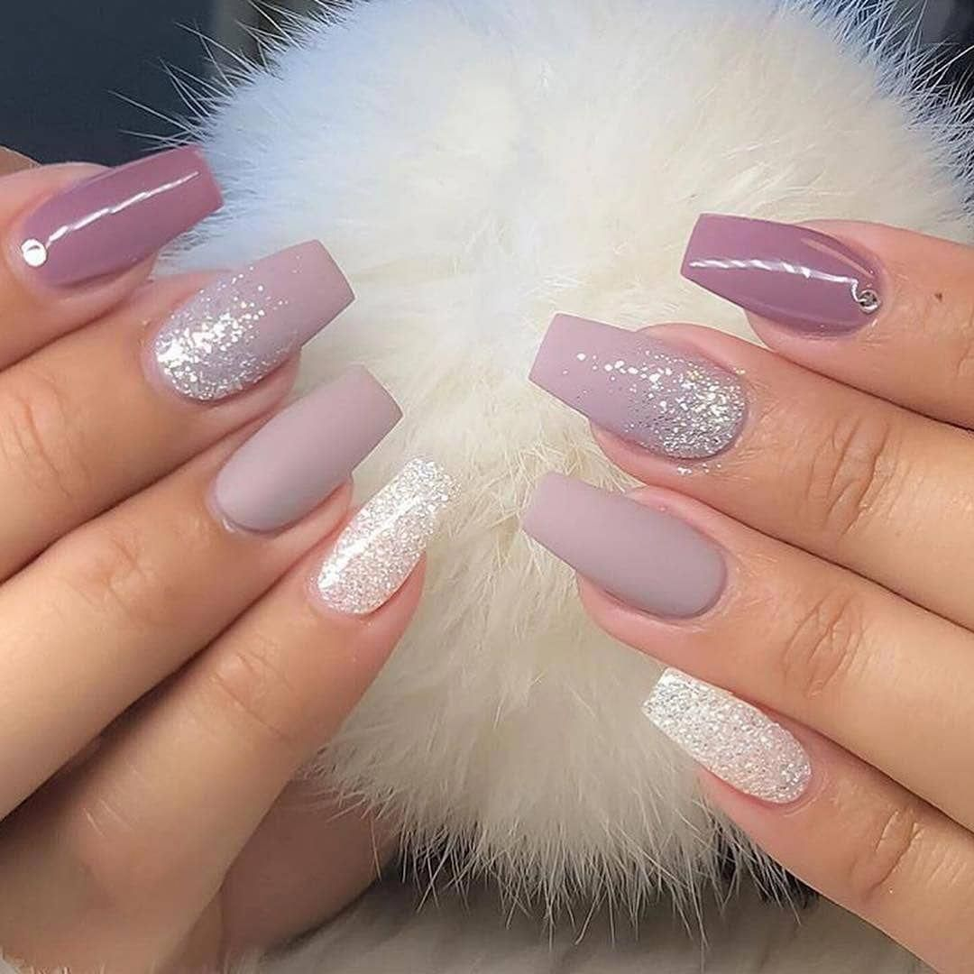 60 Simple Acrylic Coffin Nails Designs Ideas For 2019 Glitter Gel Nails Glitter Gel Nail Designs Gel Nail Designs