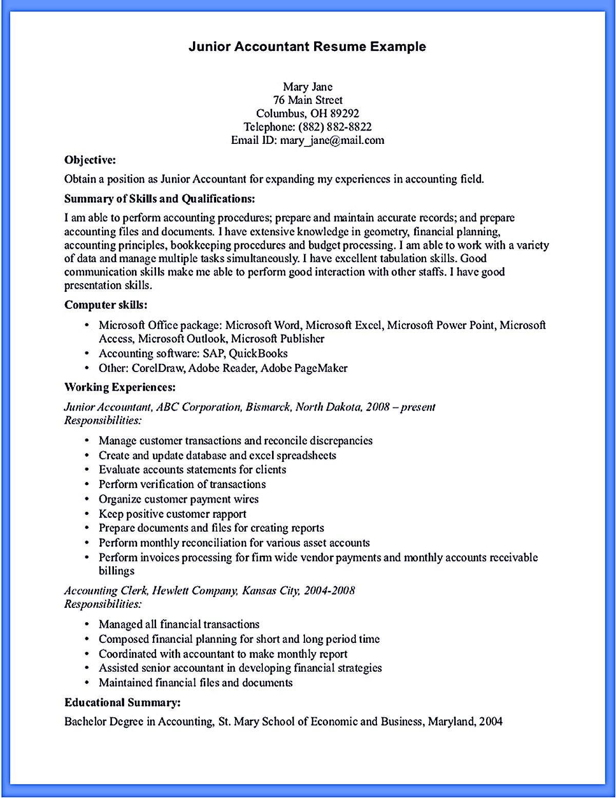 Outstanding Accountant Resume Sample For Junior And Senior Accountant Resume Resume Format In Word Resume Examples