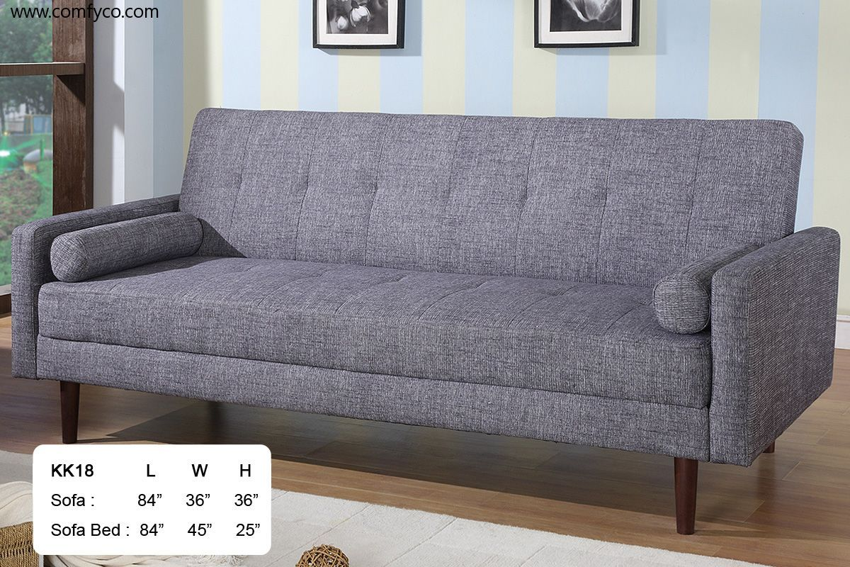 At Home Usa Ah18 Gray Fabric Retro Style Sofa Bed W Wooden Legs